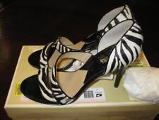 MICHAEL KORS HIGH HEELS SANDALS DYLAN OPEN TOE ZEBRA HAIR WHITE & BLACK SZ 8 EUC