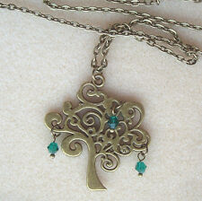 """Bronze Tree of Life Pendant Green Droplets 21"""" Chain Necklace in Gift Bag"""