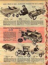 1961 ADVERT Buddy L Hot Rod Pedal Car AMF Hook & Ladder Farm Tractor Jeep