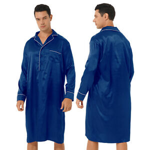 Men Satin Nightshirt Sleepwear Long Sleeve Loose Pullover Bathrobe Nightwear M