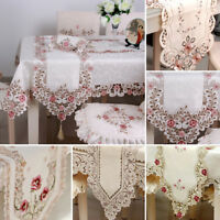 Embroidered Floral Lace Fabric Translucent Gauze Table Cloth Lace Table Runner
