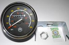SPEEDO + BRACKET.120kph/80mph STAIN' STEEL RIM.GLASS LENS FOR VESPA P200E & LML