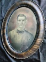 Antique Convex Bubble Glass Oval Tiger Frame ca 1910 Middle Florida 24.5x18.5