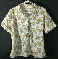 Women's Top Size XL 16 18 Short Sleeve Blouse Bobbie Brooks Beige Green Floral