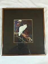 Japanese Parrot Print Framed and Matted