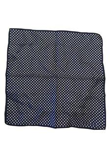 "Tommy Hilfiger polka dot pocket 13"" square blue white 100% silk"