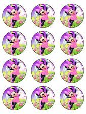 """MINNIE MOUSE 2"""" ROUND CUPCAKE WAFER PAPER BIRTHDAY CAKE TOPPERS (24)"""