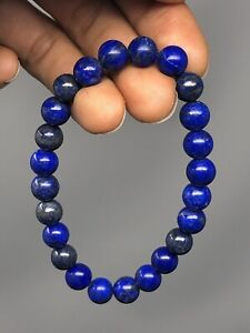 "7.5"" Natural Lapis Lazuli Bead 8mm Stretch Bracelet Handcrafted P17"