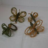 SET 4 Art Glass Butterfly Dragonfly Napkin Rings Wired Beaded Glass Green Gold