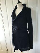 HARTFORD Belted Mohair Wrap Cardigan Navy Size 2 UK 8 - 10