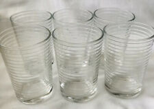 Set Of 6 Small Drinking Glasses Pasari Indonesia Lined Pattern 6-7 Oz
