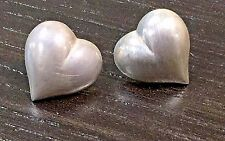 Post Stud Earrings Sterling Silver Puffy Heart