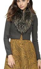Alice + Olivia Ridley Raccoon Fur Collar Gray Crop Jacket Top Size 2 $796 NWOT