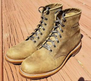 10D Chippewa Boots brown tan roughout work leather boots Made in USA 1901M29