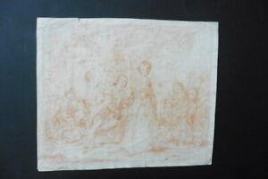 FLEMISH SCHOOL 18thC - A GALLANT SCENE - RED CHALK DRAWING SIGNED KAREL YKENS