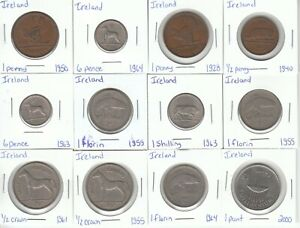 Ireland: Lot of 12 Different Circulation Coins