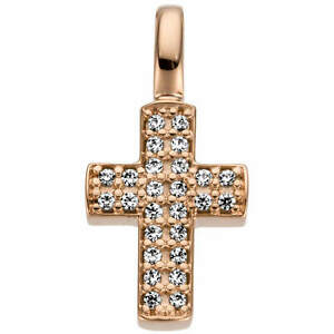 Cross Pendant 15x7, 4mm 585 Gold Rose Gold With 26 Diamonds 0,08ct
