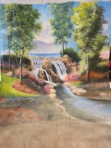 Muslin backdrop 10x20 outdoor EUC hand painted scenic
