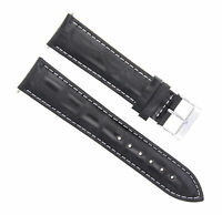 19MM/16MM  ITALIAN LEATHER WATCH BAND STRAP FOR ROLEX CELLINI BLACK WHITE STITCH