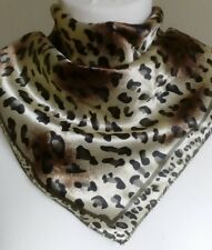 Ladies Square Satin Silk Neck Head Scarf in stunning Leopard Spotted print. 50cm