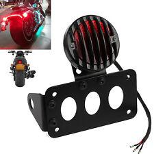 Rear Tail Stop Light Side Mount Number License Plate Bracket Lamp Harley Chopper