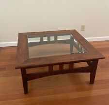 Ethan Allen Inspired Mission Style Square Glass-Top Walnut Coffee Table