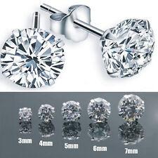 Women Men Solid Alloy Silver Color Cubic Zirconia Round Stud Earrings Ear Rings