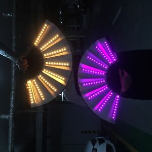 LED Light Up Flashing Hand Fan Concert Party Rave Holiday Dance Stage Carnival