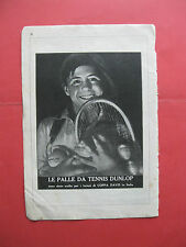 pubblicita advertising DUNLOP LE PALLE DA TENNIS 1929