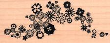 New INKADINKADO TRAILING BLOOM flower FLOURISH RUBBER STAMP wd mounted