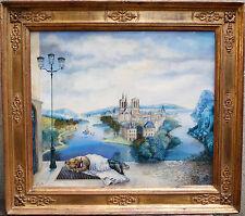 """Isabelle Planté Paris """" Le rêve du clochard """" (55x46) huile sur toile encadrée"""