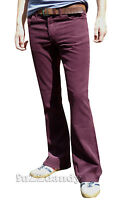 Mens Burgundy Purple red bootcut cords vtg jeans retro flares mod 60s 70's NEW