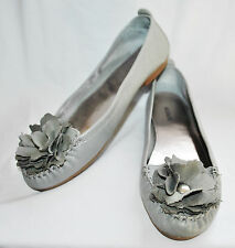 "Alfani ""Cory"" Gray Leather Flower Ballet Flat Comfort Slip On Loafers Shoes 6.5"
