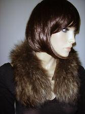 COLLO PELLICCIA VOLPE marrone Fox fur collar sciarpa cappotto giaccone D0040