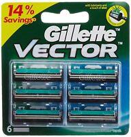 2x Gillette Vector Rasierklingen Cartridge Rasierklinge - 6 Patronen Pack