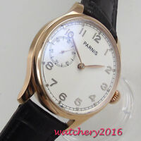 44MM PARNIS white dial Rose Golden Case 6497 Hand Winding Movement men's Watch