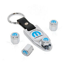 Mopar M Omega Logo Chrome Valve Stem Caps Fob Key Chain Dodge Ram Jeep Chrysler