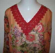 NEW ULLA POPKEN Brilliant Blooms Floral Trim Tunic Top Orange XL 12 14