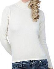 Balldiri 100% Cashmere Kaschmir Damen Pullover Rollkragen ohne Bündchen ecru XS
