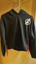 Nwot Marvel Black Widow Side Lace Crop Top Size S Xl Avengers Hoodie Shirt