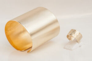 Gold Plated Jewelry Set,handcrafted Cuff Bracelet and  hammered Ring, Bangle