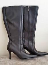 CARVELA LADIES BLACK LEATHER KNEE BOOTS - EUR 39 / UK 6 - Brand New