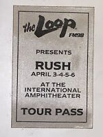 RUSH Backstage Concert Tour Pass April 1980 UNUSED At International Amphitheater