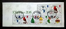Great Britain 2016 Christmas Block Of 8 Miniature - 8v Used