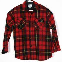 Vintage Oshmans Mens Flannel Shirt Sz L Red Plaid 70s 80s Lumberjack Wool Blend
