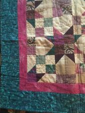 """Handmade Scrappy Burgundy Blue Green Machine Quilt Wall Hanging 5'4""""X 4'9""""Signed"""