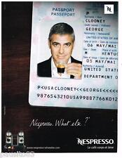 PUBLICITE ADVERTISING 095 2009  NESPRESSO  café GEORGE CLOONEY  PASSPORT