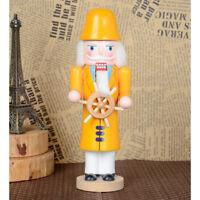 10'' Xmas Holiday Wooden Nutcracker Captain Vintage Table Walnut Decoration