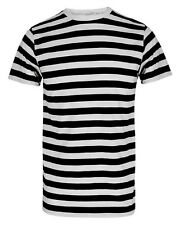 UNISEX FANCY DRESS PIRATE T SHIRT BLACK WHITE STRIPED CONVICT MEME TOP STAG HEN
