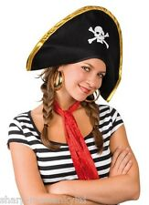 Ladies Mens Adult Black White Pirate Party Fancy Dress Costume Hat Accessory